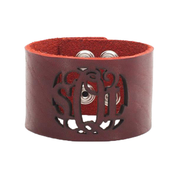 Leather Snap Cuff 1.5 - Script Monogram Cut Out - Redwood