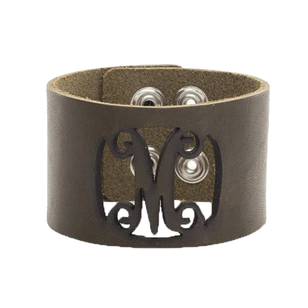Leather Snap Cuff 1.5 - Script Initial Cut Out - Olive