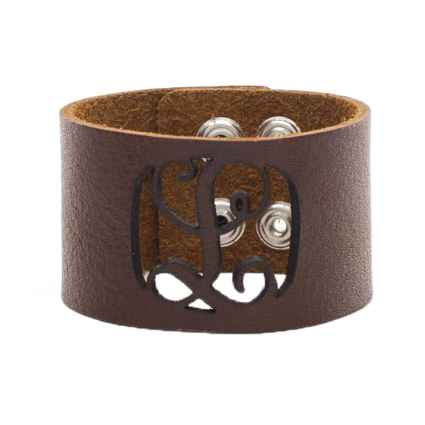 Leather Snap Cuff 1.5 - Script Initial Cut Out - Brown
