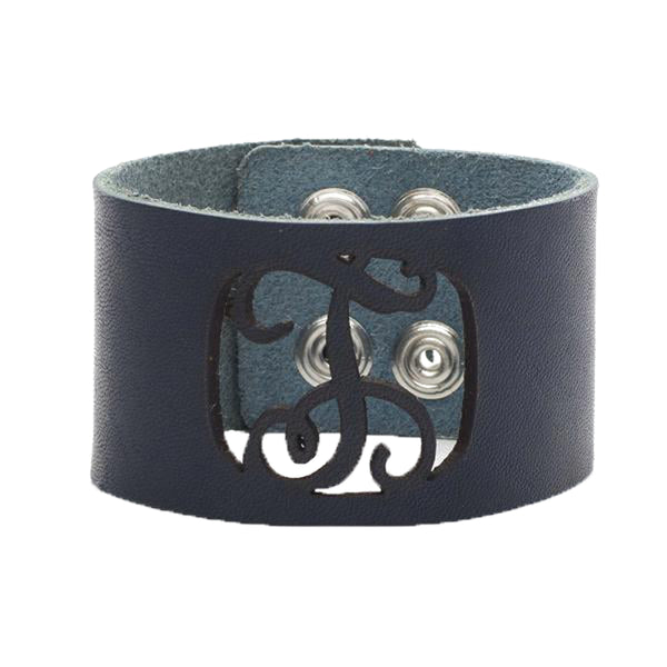Leather Snap Cuff 1.5 - Script Initial Cut Out - Cobalt