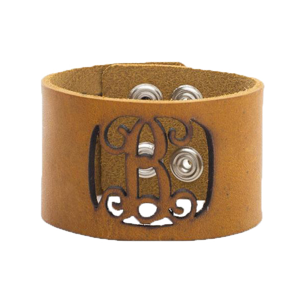 Leather Snap Cuff 1.5 - Script Initial Cut Out - Goldenrod
