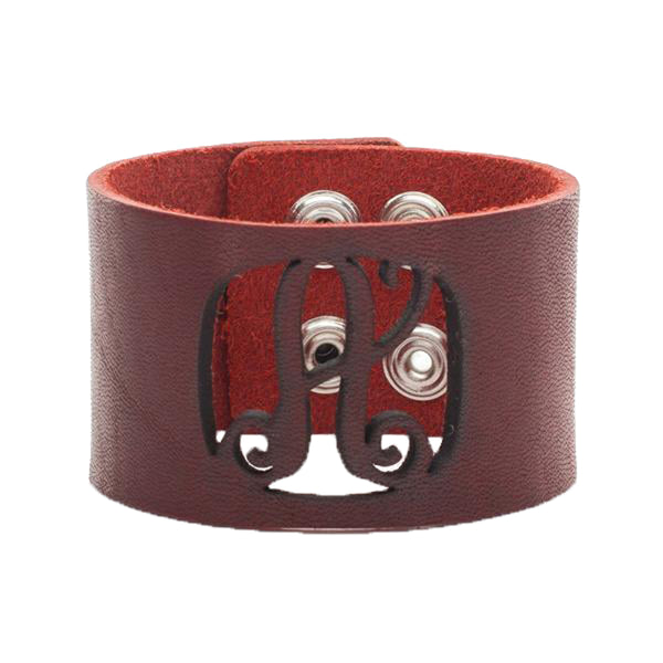 Leather Snap Cuff 1.5 - Script Initial Cut Out - Redwood