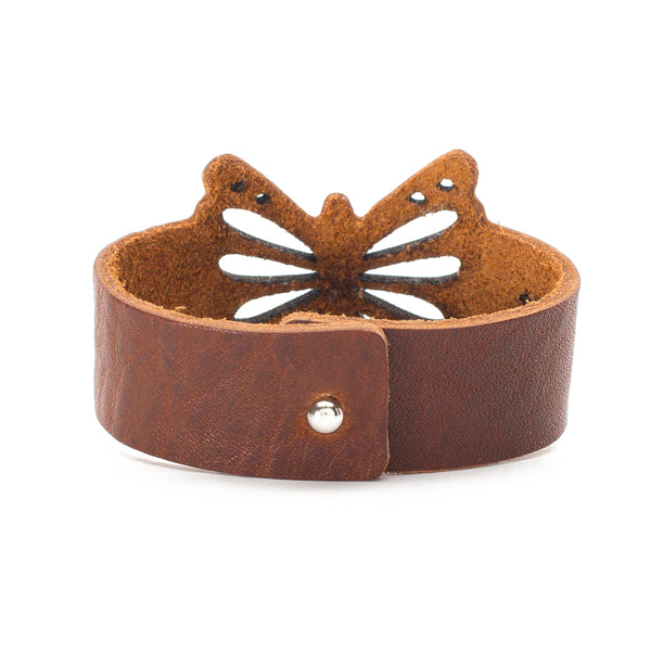 Butterfly Leather Cuff - Brown