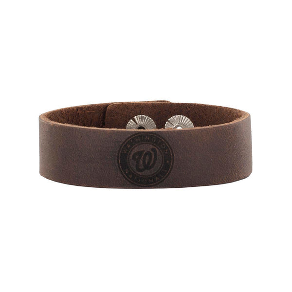 MLB Leather Snap Cuff .75 Engraved - Washington Nationals Primary Club