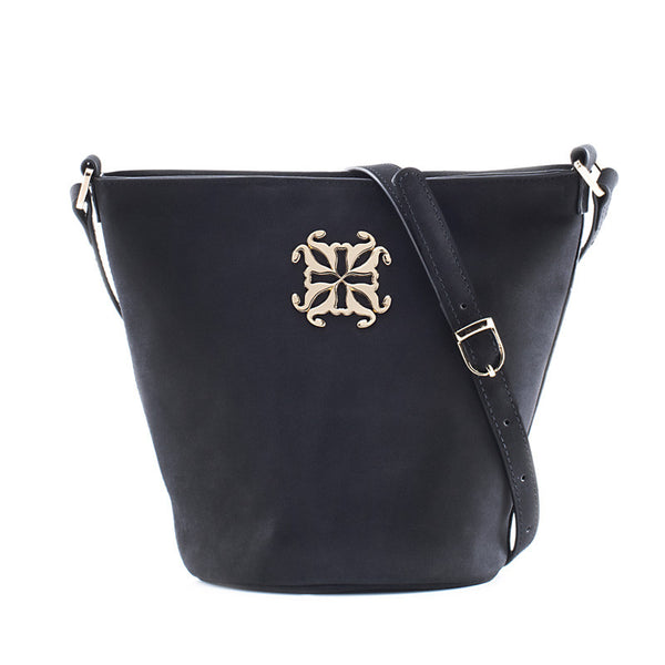 Cheyenne Suede Cross Body Bucket - Black