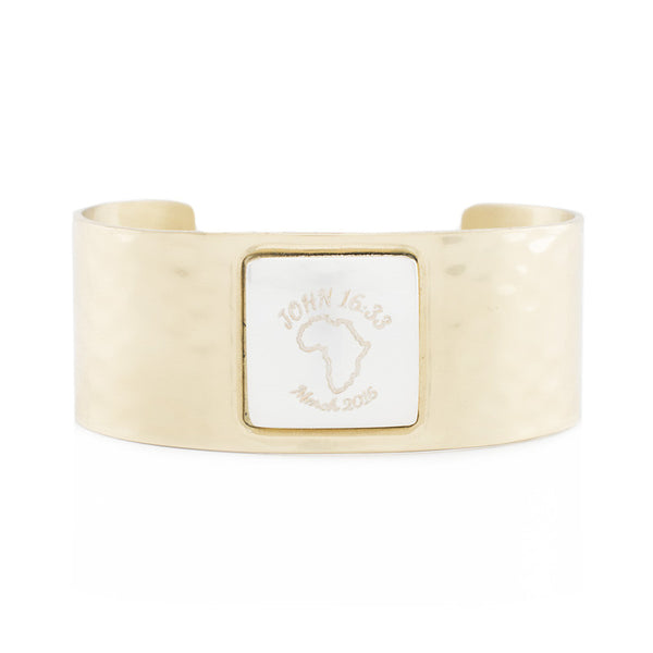 Custom Handwriting/Image - Square Gold Cuff with Silver Square