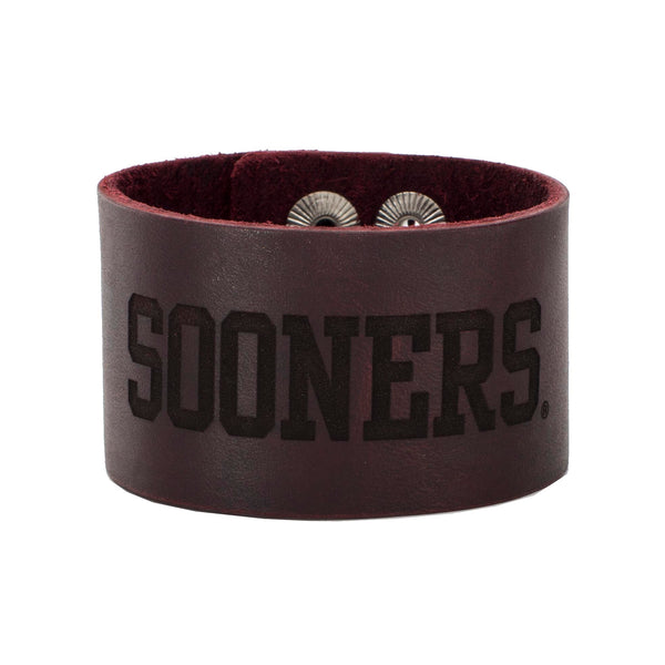1.5 Engraved Leather Snap SOONERS