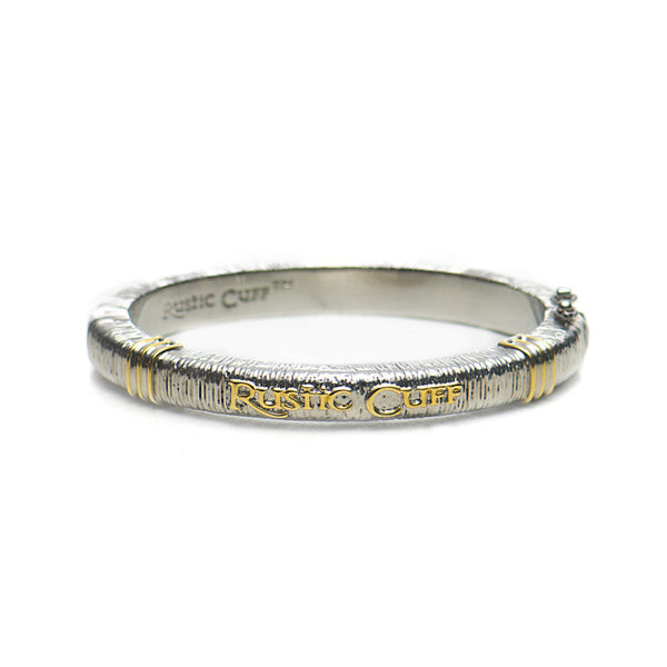 Wendy Textured Bangle - Silver with Gold