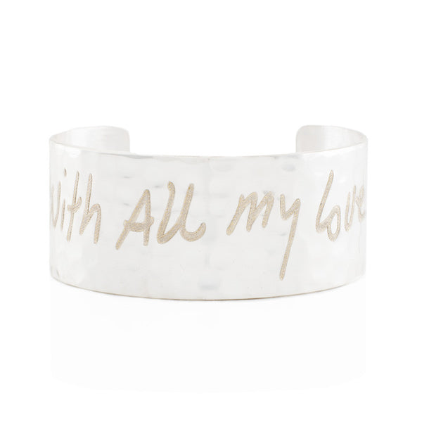 "Custom Handwriting/Image - Engraved 1.0"" Non-Rimmed Silver (Hammered)"