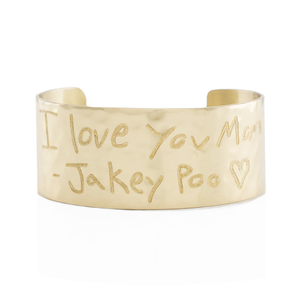 "Custom Handwriting/Image - Engraved 1.0"" Non-Rimmed Gold (Hammered)"