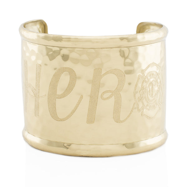 "Custom Handwriting/Image - Engraved 2.0"" Rimmed Gold (Hammered)"