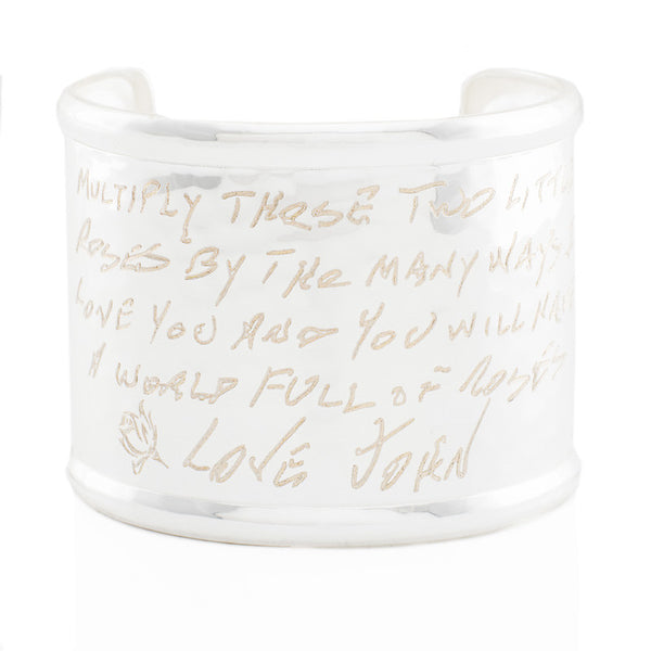 "Custom Handwriting/Image - Engraved 2.0"" Rimmed Silver (Hammered)"