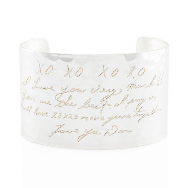 "Custom Handwriting/Image - Engraved 1.5"" Non-Rimmed Silver (Hammered)"