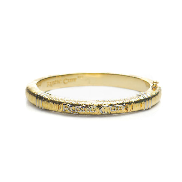 Wendy Textured Bangle - Gold with Silver
