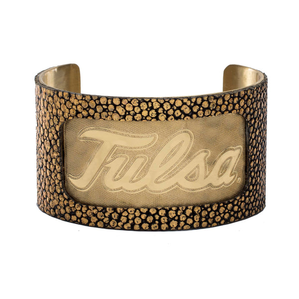 1.5 Engraved Tulsa with Gold Stingray Overlay - Gold