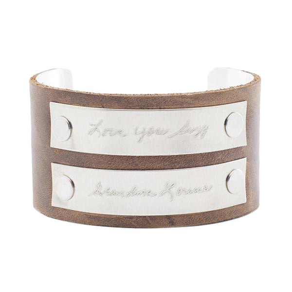"Custom Handwriting/Image - 1.5"" Leather with Two Small Silver Plates"