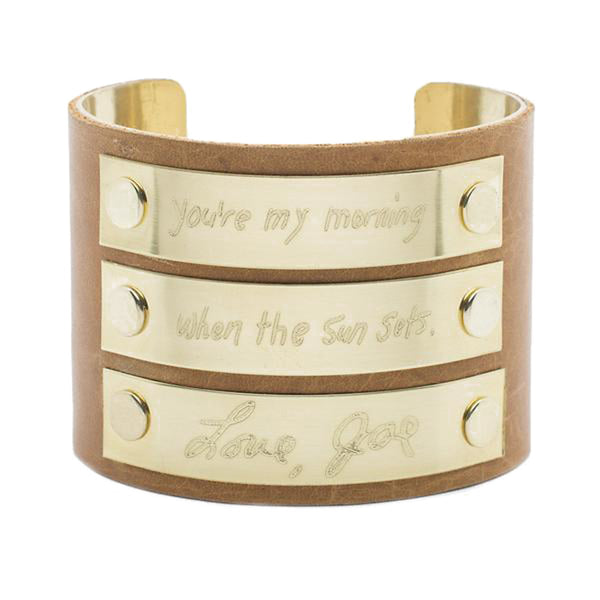 "Custom Handwriting/Image - 2.0"" Leather with Three Small Gold Plates"