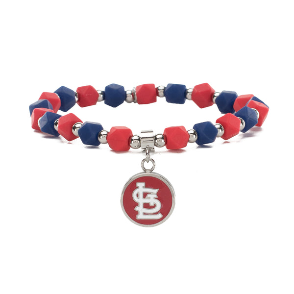 MLB Hexagon Beaded - St. Louis Cardinals on Silver