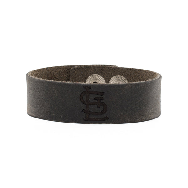MLB Leather Snap Cuff .75 Engraved - St. Louis Cardinals