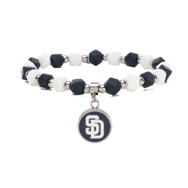MLB Hexagon Beaded - San Diego Padres on Silver