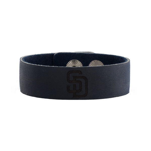 MLB Leather Snap Cuff .75 Engraved - San Diego Padres Logo