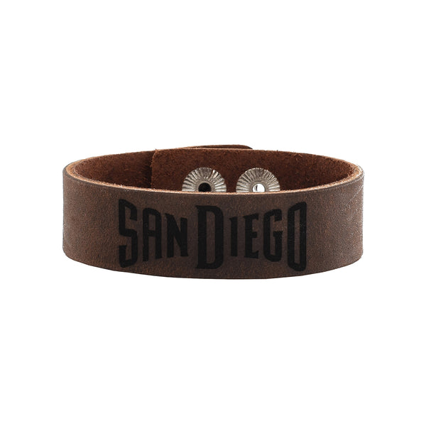 "MLB Leather Snap Cuff .75 Engraved - San Diego Padres ""SAN DIEGO"""