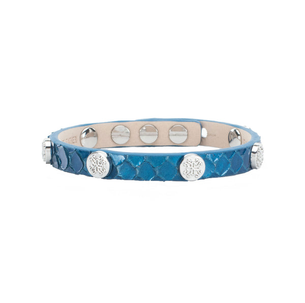 Meagen Python Single Wrap - Sea Blue with Silver
