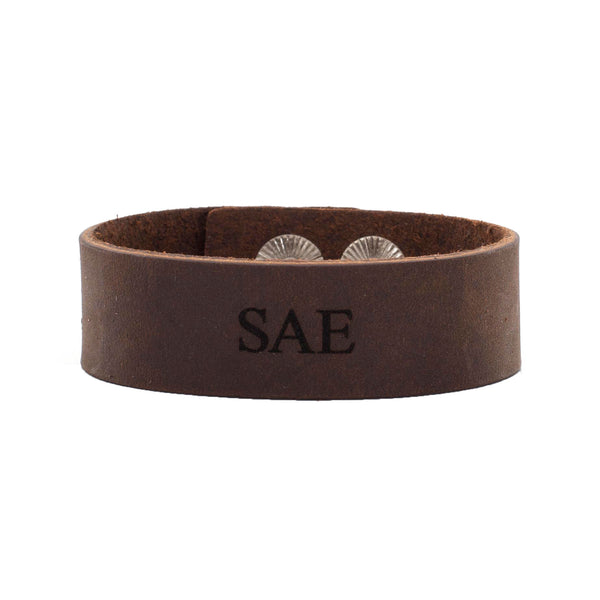 "Leather Snap Cuff .75 - Sigma Alpha Epsilon ""SAE"""