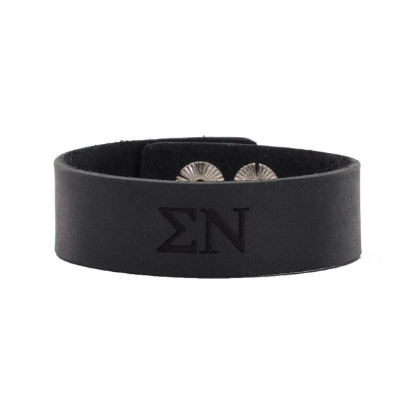 Leather Snap Cuff .75 - Sigma Nu Greek Letters