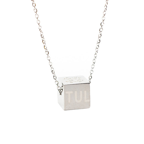 Ruby Cube Necklace Custom Engraved - Silver