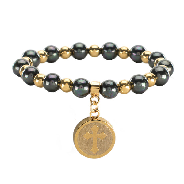 Allison Pearl Cross - Slate with Gold