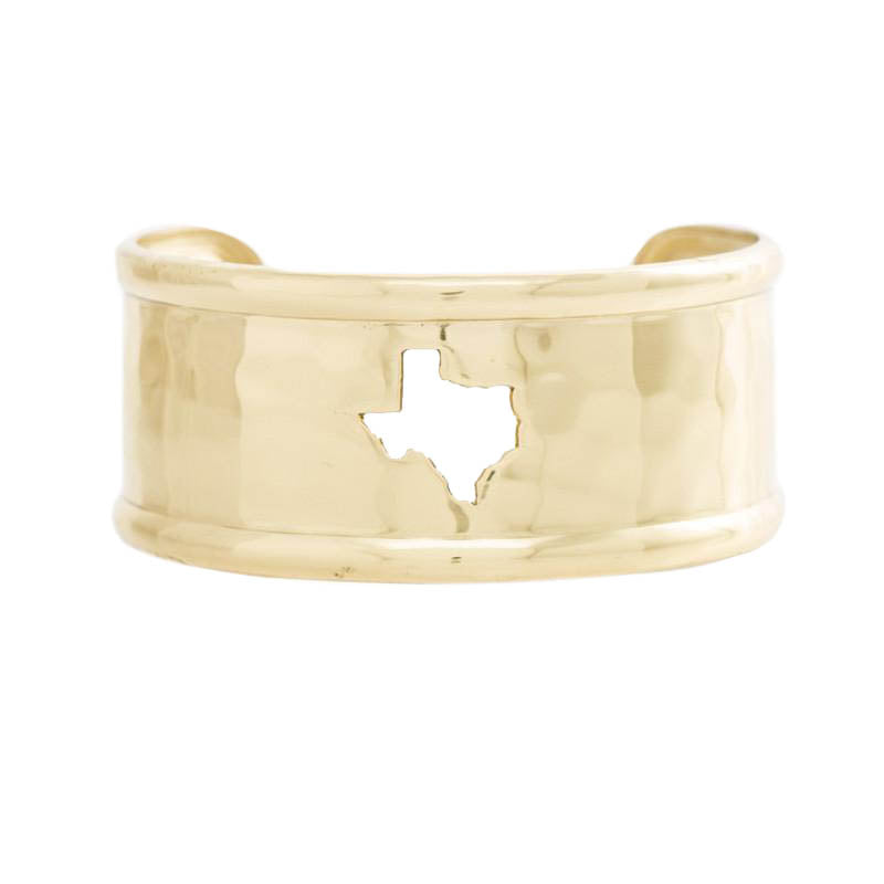 Rimmed Cut Out 1 0 Texas Map Gold
