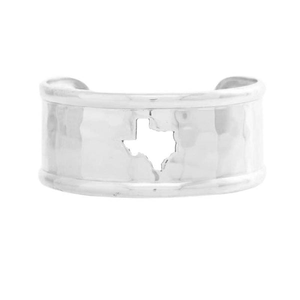 Rimmed Cut Out 1.0 Texas Map Silver