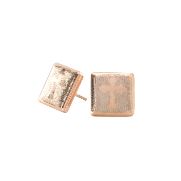 Cross Engraved Square Earrings - Rose Gold