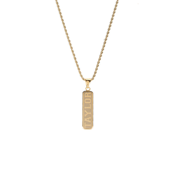 Statement Bar Vertical Necklace Collegiate Font on Gold