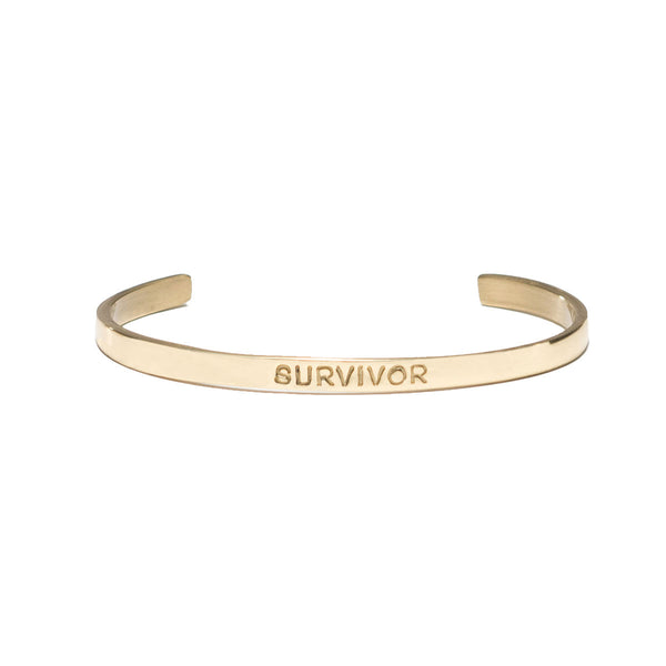 "Mini Quote Cuff ""SURVIVOR"" - Gold"