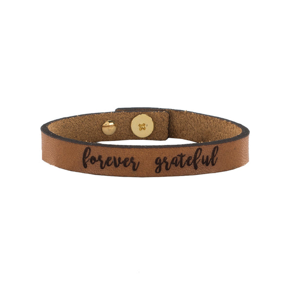 Tatum Leather Quote - forever grateful
