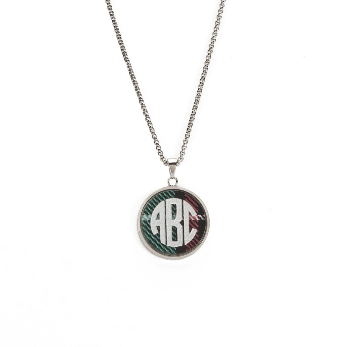 Jackie Necklace with Custom Triple Letter Traditional Monogram in Circle  Font - Silver