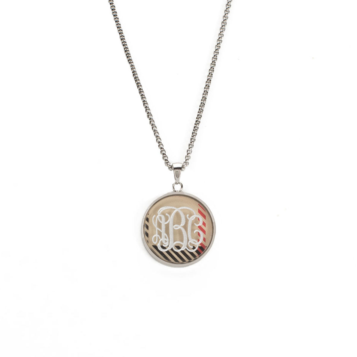 Jackie Necklace with Custom Triple Letter Traditional Monogram in Vine Font  - Silver