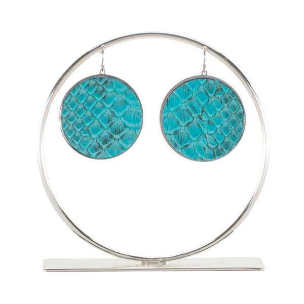 Python Round Earrings - Turquoise on Silver