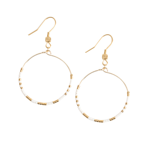 Jolie Hoop Earrings - White with Gold