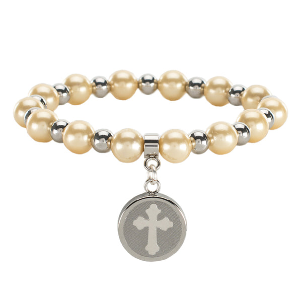 Allison Pearl Cross - Yellow with Silver