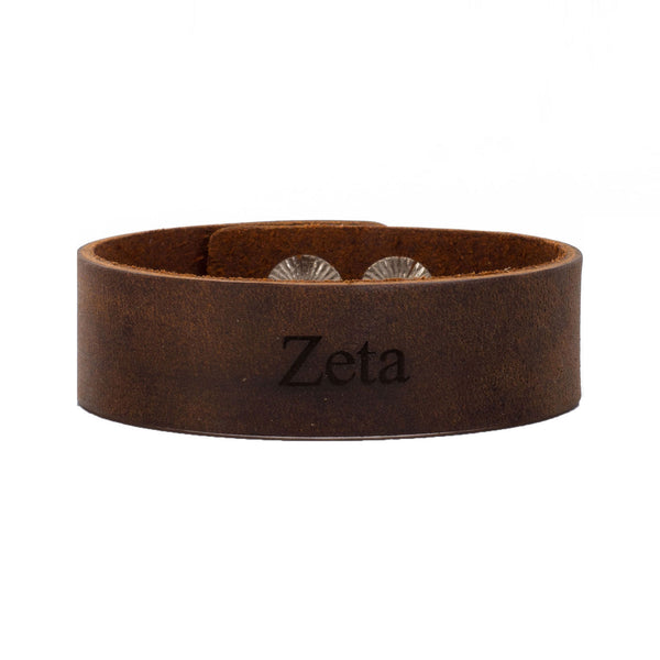 "Leather Snap Cuff .75 - Zeta Tau Alpha ""Zeta"""