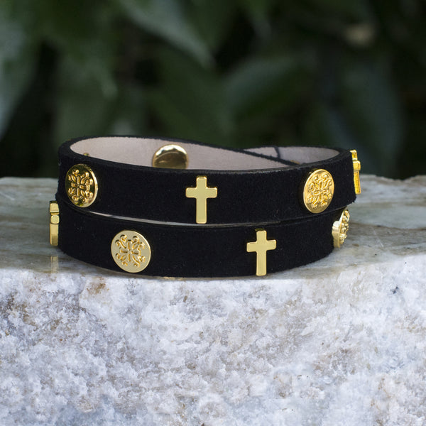 Meagen Cross Double Wrap Black with Gold