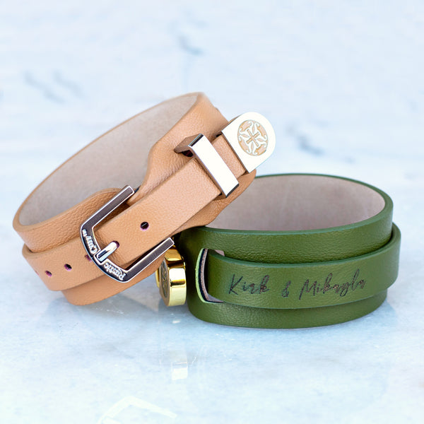 Giuliana Custom Engraved - Olive with Gold