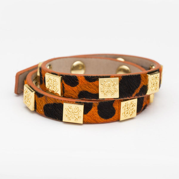 Meagen Calfskin Orange Leopard Double Wrap with Gold