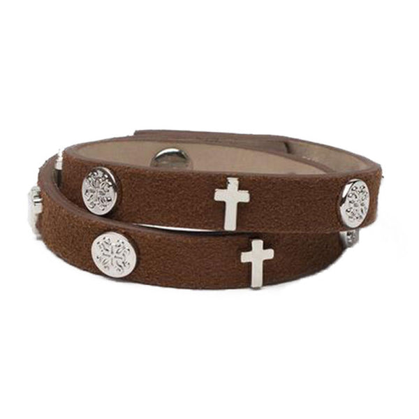 Meagen Double Suede Cross Brown - Silver