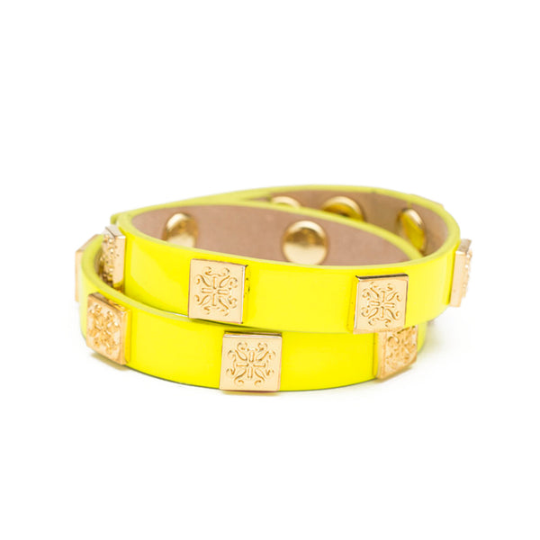 Meagen Patent Double Wrap Neon Yellow with Gold