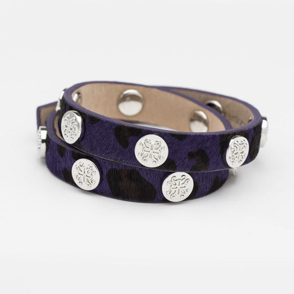 Meagen Calfskin Purple Leopard Double Wrap with Silver