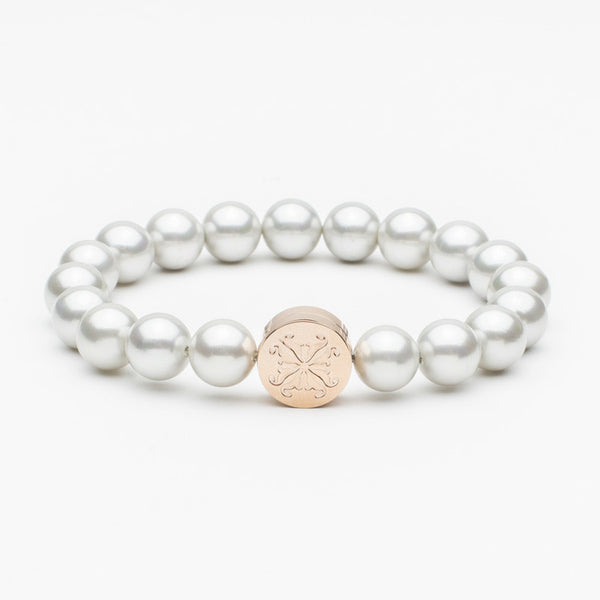 Stephanie Grand Pearl Bead Silver/Rose Gold